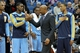 Nov 27, 2013; Minneapolis, MN, USA; Denver Nuggets head coach Brian Shaw celebrates with his team during the fourth quarter against the Minnesota Timberwolves at Target Center. The Nuggets defeated the Timberwolves 117-110. Mandatory Credit: Brace Hemmelgarn-USA TODAY Sports