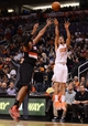 Nov 27, 2013; Phoenix, AZ, USA; Phoenix Suns guard Gerald Green (14) puts up a shot against the Portland Trail Blazers in the second half at US Airways Center. The Suns defeated the Trail Blazers 120-106. Mandatory Credit: Jennifer Stewart-USA TODAY Sports