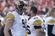Nov 29, 2013; Lincoln, NE, USA; Iowa Hawkeyes receiver Blake Haluska (9) laughs with running back Mark Weisman (45) in the final moments during the game against the Nebraska Cornhuskers in the fourth quarter at Memorial Stadium. Iowa won 38-17. Mandatory Credit: Bruce Thorson-USA TODAY Sports