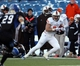 Nov 29, 2013; Buffalo, NY, USA; Bowling Green Falcons wide receiver Heath Jackson (85) runs the ball after a catch during the second half against the Buffalo Bulls at Ralph Wilson Stadium. Bowling Green beat Buffalo 24 to 7.  Mandatory Credit: Timothy T. Ludwig-USA TODAY Sports