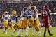 Nov 29, 2013; Baton Rouge, LA, USA; LSU Tigers wide receiver Travin Dural (83) is congratulated by wide receiver Jarvis Landry (80) and running back Jeremy Hill (33) after his touchdown in the fourth quarter at Tiger Stadium. LSU defeated Arkansas 31-27. Mandatory Credit: Crystal LoGiudice-USA TODAY Sports