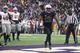 Nov 29, 2013; Seattle, WA, USA; Washington Huskies running back Bishop Sankey (25) rushes for a touchdown against the Washington State Cougars during the second half at Husky Stadium. Mandatory Credit: Joe Nicholson-USA TODAY Sports