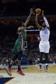 Nov 29, 2013; Charlotte, NC, USA; Charlotte Bobcats center Al Jefferson (25) shoots the ball over Milwaukee Bucks power forward Ekpe Udoh (5) during the second half at Time Warner Cable Arena. Bobcats defeated the Bucks 92-76. Mandatory Credit: Jeremy Brevard-USA TODAY Sports