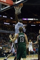 Nov 29, 2013; Charlotte, NC, USA; Charlotte Bobcats center Al Jefferson (25) dunks the ball during the second half against the Milwaukee Bucks at Time Warner Cable Arena. Bobcats defeated the Bucks 92-76. Mandatory Credit: Jeremy Brevard-USA TODAY Sports