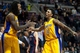 Nov 29, 2013; Auburn Hills, MI, USA; Los Angeles Lakers small forward Nick Young (0) and center Jordan Hill (27) celebrate their win over the Detroit Pistons at The Palace of Auburn Hills. Lakers won 106-102. Mandatory Credit: Tim Fuller-USA TODAY Sports