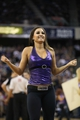 Nov 29, 2013; Sacramento, CA, USA; Sacramento Kings dancer performs during a timeout against the Los Angeles Clippers during the fourth quarter at Sleep Train Arena. The Los Angeles Clippers defeated the Sacramento Kings 104-98 in overtime. Mandatory Credit: Kelley L Cox-USA TODAY Sports