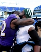 Nov 24, 2013; Baltimore, MD, USA; New York Jets safety Ed Reed (right) hugs Baltimore Ravens safety James Ihedigbo (left) after the game at M&T Bank Stadium. Mandatory Credit: Evan Habeeb-USA TODAY Sports
