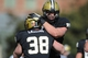 Nov 30, 2013; Nashville, TN, USA; Vanderbilt Commodores fullback Fitz Lassing (38) is congratulated by a team mate after scoring a touchdown against the Wake Forest Demon Deacons during the first quarter at Vanderbilt Stadium. Mandatory Credit: Randy Sartin-USA TODAY Sports