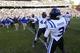 Nov 30, 2013; Chapel Hill, NC, USA;  Duke Blue Devils wide receiver Jamison Crowder (3) and running back Eamonn Vain-Callahan (44) celebrate after the game. The Duke Blue Devils defeated the North Carolina Tar Heels 27-25 at Kenan Memorial Stadium. Mandatory Credit: Bob Donnan-USA TODAY Sports