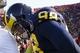 Nov 30, 2013; Ann Arbor, MI, USA; Michigan Wolverines quarterback Devin Gardner (98) walks off the field after the game against the Ohio State Buckeyes at Michigan Stadium. Ohio State won 42-41. Mandatory Credit: Rick Osentoski-USA TODAY Sports