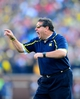 Nov 30, 2013; Ann Arbor, MI, USA; Michigan Wolverines head coach Brady Hoke gestures on the sidelines during the fourth quarter against the Ohio State Buckeyes at Michigan Stadium. Mandatory Credit: Andrew Weber-USA TODAY Sports