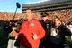 Nov 30, 2013; Ann Arbor, MI, USA; Ohio State Buckeyes head coach Urban Meyer runs off the field after defeating Michigan Wolverines 42-41 at Michigan Stadium. Mandatory Credit: Andrew Weber-USA TODAY Sports