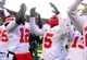 Nov 30, 2013; Ann Arbor, MI, USA; Ohio State Buckeyes quarterback Braxton Miller (5) celebrates with teammates after defeating the Michigan Wolverines 42-41at Michigan Stadium. Mandatory Credit: Andrew Weber-USA TODAY Sports