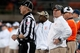 Nov 30, 2013; Champaign, IL, USA;  Illinois Fighting Illini head coach Tim Beckman yells at an official during the fourth quarter against the Northwestern Wildcats at Memorial Stadium. Northwestern won 37-34.  Mandatory Credit: Bradley Leeb-USA TODAY Sports