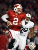 Nov 30, 2013; Madison, WI, USA; Wisconsin Badgers quarterback Joel Stave (2) looks to pass as Nittany Lions tackle Austin Johnson (99) defends  at Camp Randall Stadium. Penn State defeated Wisconsin 31-24. Mandatory Credit: Mary Langenfeld-USA TODAY Sports