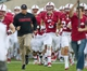 Nov 30, 2013; Stanford, CA, USA; Stanford Cardinal head coach David Shaw runs onto the field with his players before the game against the Notre Dame Fighting Irish at Stanford Stadium. Mandatory Credit: Matt Cashore-USA TODAY Sports