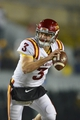 Nov 30, 2013; Morgantown, WV, USA; Iowa State Cyclones quarterback Grant Rohach (3) scrambles with the ball during the second half at Milan Puskar Stadium. Iowa State Cyclones defeated West Virginia Mountaineers 52-44 in the third overtime. Mandatory Credit: Tommy Gilligan-USA TODAY Sports