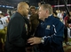 Nov 30, 2013; Stanford, CA, USA; Stanford Cardinal head coach David Shaw and Notre Dame Fighting Irish head coach Brian Kelly shake hands after Stanford defeated Notre Dame 27-20 at Stanford Stadium. Mandatory Credit: Matt Cashore-USA TODAY Sports