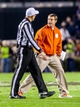 Nov 30, 2013; Columbia, SC, USA; Clemson Tigers head coach Dabo Swinney disputes an intentional grounding call against the South Carolina Gamecocks in the second quarter at Williams-Brice Stadium. Mandatory Credit: Jeff Blake-USA TODAY Sports