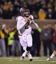 Nov 30, 2013; Columbia, MO, USA; Texas A&M Aggies quarterback Johnny Manziel (2) drops back to pass against the Missouri Tigers during the second half at Faurot Field. Missouri defeated Texas A&M 28-21. Mandatory Credit: Peter G. Aiken-USA TODAY Sports