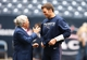 Dec 1, 2013; Houston, TX, USA; New England Patriots quarterback Tom Brady (12) talks with owner Robert Kraft against the Houston Texans at Reliant Stadium. Mandatory Credit: Matthew Emmons-USA TODAY Sports