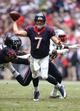 Dec 1, 2013; Houston, TX, USA; Houston Texans quarterback Case Keenum (7) throws as he scrambles in the second quarter against the New England Patriots at Reliant Stadium. Mandatory Credit: Matthew Emmons-USA TODAY Sports