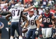 Dec 1, 2013; Houston, TX, USA; New England Patriots running back James Develin (46) celebrates his third quarter touchdown with tight end Rob Gronkowski (87) against the Houston Texans at Reliant Stadium. Mandatory Credit: Matthew Emmons-USA TODAY Sports
