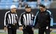 Dec 1, 2013; Charlotte, NC, USA; Carolina Panthers head coach Ron Rivera talks to the officials during the second half of the game against the Tampa Bay Buccaneers at Bank of America Stadium. Carolina wins 27-6. Mandatory Credit: Sam Sharpe-USA TODAY Sports
