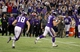 Dec 1, 2013; Minneapolis, MN, USA; Minnesota Vikings kicker Blair Walsh (3) celebrates his field goal during overtime against the Chicago Bears at Mall of America Field at H.H.H. Metrodome. The Vikings defeated the Bears 23-20 in overtime. Mandatory Credit: Brace Hemmelgarn-USA TODAY Sports