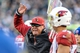Dec 1, 2013; Philadelphia, PA, USA;  Arizona Cardinals head coach Bruce Arians reacts to a call during the fourth quarter of the game against the Philadelphia Eagles at Lincoln Financial Field. The Philadelphia Eagles won the game 24-21.  Mandatory Credit: John Geliebter-USA TODAY Sports