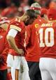 Dec 1, 2013; Kansas City, MO, USA; Kansas City Chiefs quarterback Alex Smith (11) reacts to play on the sidelines during the second half of the game against the Denver Broncos at Arrowhead Stadium. Denver won 35-28. Mandatory Credit: Denny Medley-USA TODAY Sports