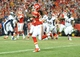 Dec 1, 2013; Kansas City, MO, USA; Kansas City Chiefs wide receiver Dexter McCluster (22) catches a pass during the second half of the game against the Denver Broncos at Arrowhead Stadium. Denver won 35-28. Mandatory Credit: Denny Medley-USA TODAY Sports