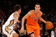 Dec 1, 2013; New York, NY, USA;  New York Knicks point guard Pablo Prigioni (9) drives around New Orleans Pelicans point guard Brian Roberts (22) during the second quarter at Madison Square Garden. Mandatory Credit: Anthony Gruppuso-USA TODAY Sports