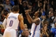 Dec 1, 2013; Oklahoma City, OK, USA; Oklahoma City Thunder small forward Kevin Durant (35) reacts after dunking the ball against the Minnesota Timberwolves during the second quarter at Chesapeake Energy Arena. Mandatory Credit: Mark D. Smith-USA TODAY Sports