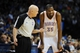 Dec 1, 2013; Oklahoma City, OK, USA; Oklahoma City Thunder small forward Kevin Durant (35) talks to NBA official Joey Crawford in a break in action against the Minnesota Timberwolves at Chesapeake Energy Arena. Mandatory Credit: Mark D. Smith-USA TODAY Sports
