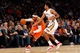 Dec 1, 2013; New York, NY, USA;  New York Knicks small forward Carmelo Anthony (7) drives past New Orleans Pelicans small forward Josh Childress (8) during the second quarter at Madison Square Garden. New Orleans Pelicans won 103-99.  Mandatory Credit: Anthony Gruppuso-USA TODAY Sports