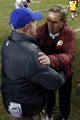 Dec 1, 2013; Landover, MD, USA;  New York Giants head coach Tom Coughlin (l) shakes hands with Washington Redskins head coach Mike Shanahan (r) after their game at FedEx Field. The Giants won 24-17. Mandatory Credit: Geoff Burke-USA TODAY Sports