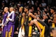 Nov 27, 2013; Brooklyn, NY, USA; Los Angeles Lakers players look on against the Brooklyn Nets at Barclays Center. The Lakers won 99-94. Mandatory Credit: Joe Camporeale-USA TODAY Sports
