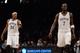Nov 27, 2013; Brooklyn, NY, USA; Brooklyn Nets small forward Paul Pierce (34) and power forward Kevin Garnett (2) looks on against the Los Angeles Lakers at Barclays Center. The Lakers won 99-94. Mandatory Credit: Joe Camporeale-USA TODAY Sports