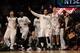 Nov 27, 2013; Brooklyn, NY, USA; Brooklyn Nets players cheer against the Los Angeles Lakers at Barclays Center. The Lakers won 99-94. Mandatory Credit: Joe Camporeale-USA TODAY Sports