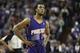 Nov 19, 2013; Sacramento, CA, USA; Phoenix Suns point guard Ish Smith (3) as the Sacramento Kings shoot free throws during the fourth quarter at Sleep Train Arena. The Sacramento Kings defeated the Phoenix Suns 107-104. Mandatory Credit: Kelley L Cox-USA TODAY Sports