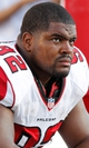 Nov 17, 2013; Tampa, FL, USA; Atlanta Falcons nose tackle Travian Robertson (92) against the Tampa Bay Buccaneers during the second half at Raymond James Stadium. Tampa Bay Buccaneers defeated the Atlanta Falcons 41-28. Mandatory Credit: Kim Klement-USA TODAY Sports