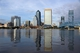 Dec 5, 2013; Jacksonville, FL, USA; General view of the downtown Jacksonville skyline and Jacksonville Landing and the Main Street bridge and the St. Johns River before the NFL game between the Houston Texans and the Jacksonville Jaguars. Mandatory Credit: Kirby Lee-USA TODAY Sports