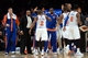 Dec 6, 2013; New York, NY, USA; The New York Knicks celebrate against the Orlando Magic during the second half at Madison Square Garden. The Knicks won the game 121-83. Mandatory Credit: Joe Camporeale-USA TODAY Sports