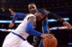 Dec 6, 2013; New York, NY, USA; New York Knicks small forward Carmelo Anthony (7) dribbles by Orlando Magic power forward Glen Davis (11) during the second half at Madison Square Garden. The Knicks won the game 121-83. Mandatory Credit: Joe Camporeale-USA TODAY Sports