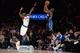 Dec 6, 2013; New York, NY, USA; Orlando Magic shooting guard Doron Lamb (1) takes a shot over New York Knicks shooting guard Tim Hardaway Jr. (5) during the second half at Madison Square Garden. The Knicks won the game 121-83. Mandatory Credit: Joe Camporeale-USA TODAY Sports
