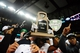 Dec 6, 2013; Detroit, MI, USA; Bowling Green Falcons players celebrates after defeating Northern Illinois Huskies 47-27 to win the MAC Championship at Ford Field. Mandatory Credit: Andrew Weber-USA TODAY Sports