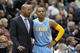 Nov 27, 2013; Minneapolis, MN, USA; Denver Nuggets head coach Brian Shaw talks with guard Randy Foye (4) against the Minnesota Timberwolves at Target Center. The Nuggets defeated the Timberwolves 117-110. Mandatory Credit: Brace Hemmelgarn-USA TODAY Sports
