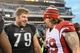 Dec 1, 2013; Philadelphia, PA, USA;  Philadelphia Eagles guard Todd Herremans (79) and Arizona Cardinals tackle Mike Gibson (69) talk after the game at Lincoln Financial Field. The Philadelphia Eagles won the game 24-21.  Mandatory Credit: John Geliebter-USA TODAY Sports