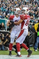 Dec 1, 2013; Philadelphia, PA, USA;  Arizona Cardinals tight end Jim Dray (81) celebrates his touchdown with tight end Rob Housler (84) during the fourth quarter of the game at Lincoln Financial Field. The Philadelphia Eagles won the game 24-21.  Mandatory Credit: John Geliebter-USA TODAY Sports